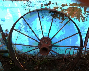 """Wheel and Blue Wall Posterized Art Photography """"Junkyard Reverie"""" Turquoise Blue Tones Digital Printable Art Photograph"""