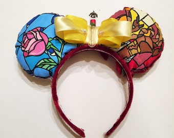REVERSIBLE  Beauty and the Beast Stain Glass Inspired Mouse Ears