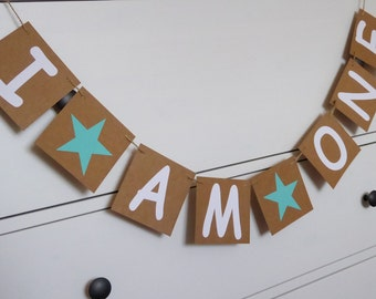 Little star I am one birthday banner, baby's 1st birthday party, cake smash photo prop