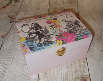 Alice in Wonderland Jewellery Box, Shabby Chic, Pink Jewellery Trinket Box, decoupage, Gift for her, Storage box