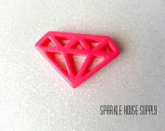 4 Pcs Hot Pink Diamond Resin Cabochon