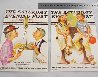 A Set of 2 Saturday Evening Post Covers Lithographs by Norman Rockwell - Mint Condition
