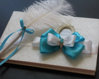 Turquoise and White Baby Shower Memory Book and Ostrich Feather Pen \ It's a Boy Guest Sign in Book \ Blue Guest Book \ Baby Shower Gift