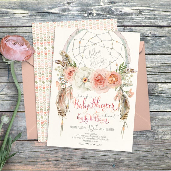 43 Dreamy Watercolor Inspired Wedding Ideas: Dreamcatcher Boho Baby Shower Invitation. Digital Printable