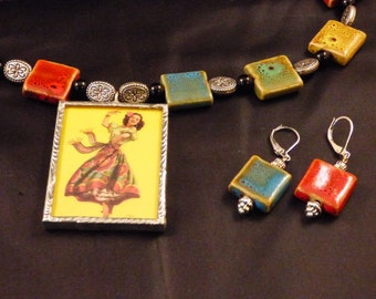 Double Sided Vaquera Senorita Cowgirl Pendant w/ Stone Necklace and Earrings