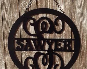 "Labor Day Sale -  Metal 18""  Door Decor - Circle w/ Last Name In Middle - Personalized"