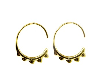 toothed hoop earrings plata925 gold plated or silve