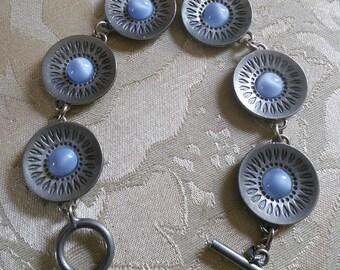 Jorgen Jensen Pewter Bracelet // Danish designer, midcentury modern, pewter bracelet with light blue stones