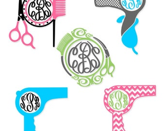 Hair dresser Hairdresser Designs Monogram Pack Salon SVG, DXF, EPS use with Silhouette Studio & ...