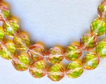12mm Fire Polished Czech Glass Beads - Bicolor Fire Polished - Various Bicolors - Qty 10
