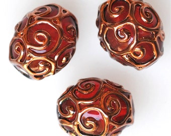 Handmade Czech Glass Bead with Swirled Piping Design - 2 Sizes Available - Various Colors Available - Qty 1