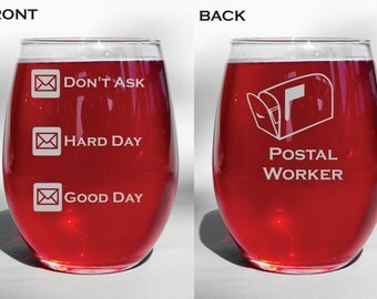 Deep Engraved Postal Worker - Mail Man - Mail Lady- Etched Personalized Glass - Dishwasher Safe - Whiskey Glasses, Coffee Mugs, Beer mugs