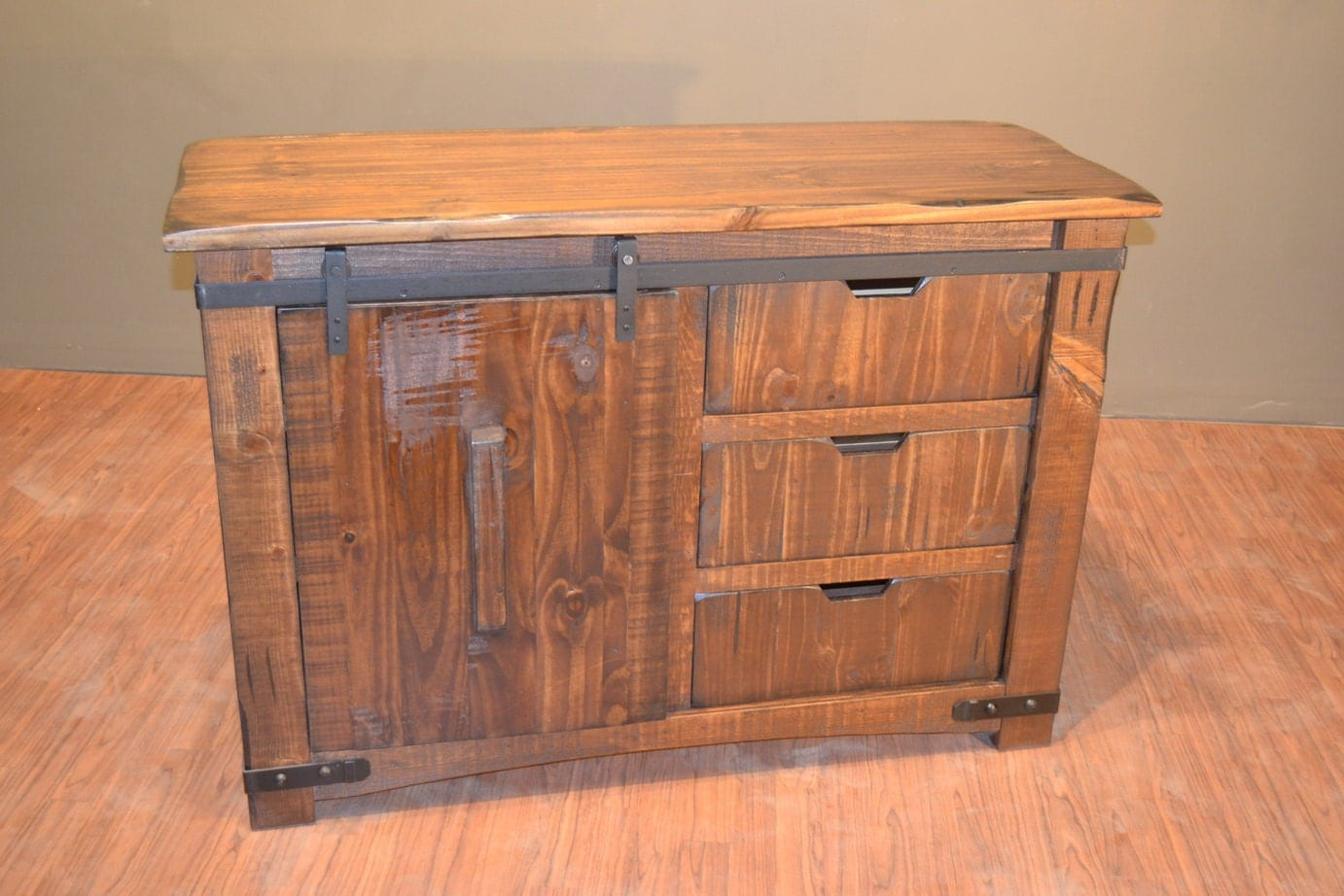 Rustic Solid Reclaimed Wood Tv Stand Media Center With Sliding