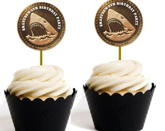 Shark Cup Cake Toppers/Labels Personalised