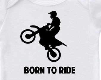 Dirtbike Onesie, Born to Ride, Many Colors, Boy or Girl