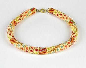 Bead crochet necklace 'Summer Flowers'  -  beaded bracelet - Beaded crochet rope - crochet necklace