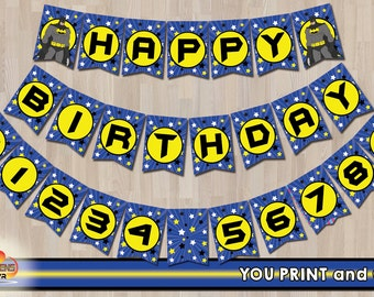 BATMAN Happy Birthday Banner- Printable Banner - INSTANT DOWNLOAD