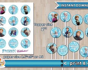 FROZEN Printable Cupcake Toppers - INSTANT DOWNLOAD