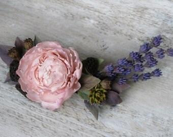 Bridal barrette Bridal hair flower Peony hair flower Boho bridal headpiece Boho wedding lavender Provence Bridal flower hair clip bohemian