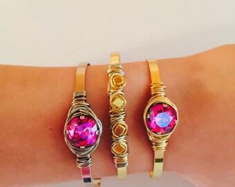 1 cuff bracelet with swarvorski stone