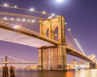 Brooklyn Bridge photo, fine art print, nyc, long exposure, night shot, New York, Wall art, New York bridges