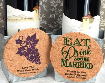 Classic Wedding Cork Coaster Magnets, Round Cork Magnet Favors - Set of 12