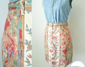 80s/90s Denim Skirt with a Colorful Print