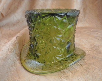 1960's Fenton Green Glass  Top Hat Candle Holder-Vintage-Collectible-Usable