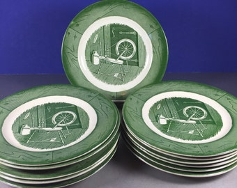 Colonial Homestead Green Bread and Butter Plates 12pc