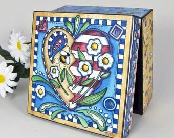 Summer Jewelry Box - Springtime Keepsake Box - Seasonal Decor - Bumble Bee - Bluebird - Trinket Box - Mother's Day Gift -Decoupaged Wood Box