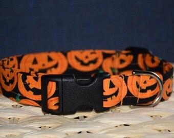 Halloween  Dog Collar – Jack O' Lantern  Dog Collar – Pumpkin Dog Collar – Fall Dog Collar - Handmade Fabric Dog Collar