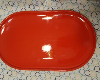 Waechtersbach bright orange red vintage serving tray marked Waechtersbach W. Germany on bottom