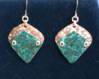 Copper and Copper Patina Riveted Earrings