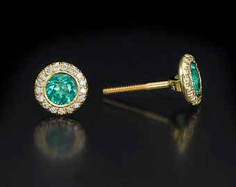 Emerald halo stud, emerald earrings, halo diamond studs, yellow gold studs, green stone earrings, round halo earrings, May birthstone