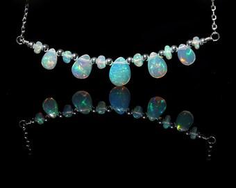 AAA Ethiopian Opal Bib Necklace, Genuine Natural Fire Opal Jewelry, 925 Sterling Silver Choker, October Birthstone, Gift for Girlfriend