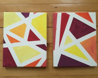 Triangle Abstract Painting Warm Colors