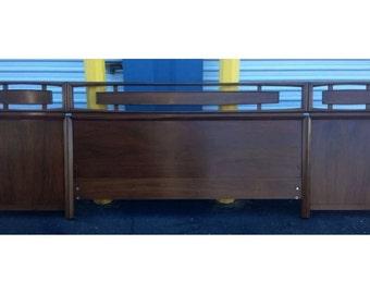 Mid Century Floating Panel Walnut King Size Heaboard