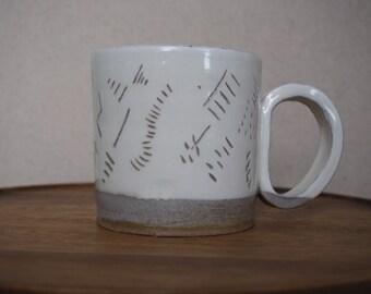 Modern Ceramic Mug, Hand Thrown, Hand Carved Details