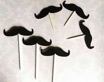 Mustache Cupcake Toppers (Set of 12)