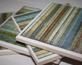Turquoise/ceramic tile/drink coasters/ pinstripe coasters/distressed wood/beach house decor/summer coasters/turquoise decor