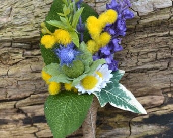 Wedding Buttonhole, corsage,Purple, yellow, ivory