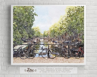 Netherlands, Amsterdam Bicycles along the canals - Aquarelle Watercolor Painting Digital Wall Art Instant Download