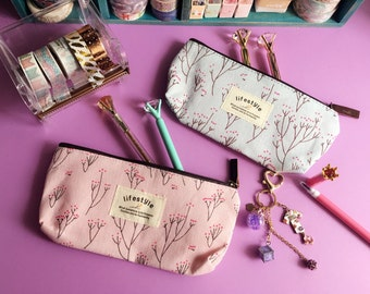 Baby Pink / Baby Blue Flower Pencil case