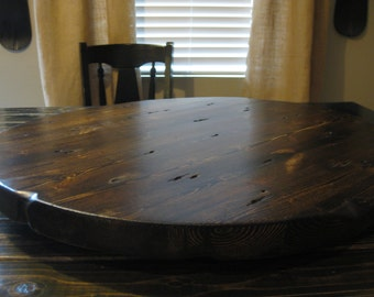 reclaimed wood lazy susan dark walnut stain or stain match your dining table heavy duty style