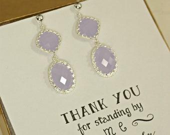 Lavendar Earrings, Double Drop Earrings, Silver Lilac Earrings, Lavender Bridesmaid Jewelry, Long Dangle Earrings, Log Drop Earrings, ES1