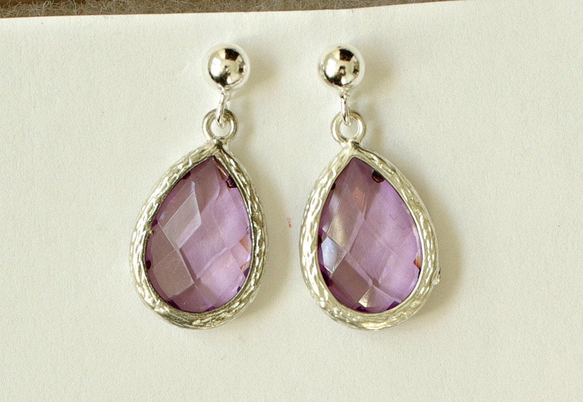 set of 6 purple earrings for bridesmaids amethyst earrings