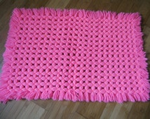 Rug wool synthetic, pink Hoodie, made hand, vintage, 70's