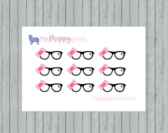 Cute Glasses with Pink Bow Planner Stickers (090)