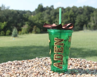 Camouflage 16 oz tumbler with name
