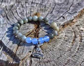 Faceted Labradorite Yoga Bracelet or Aum Aquamarine Bracelet
